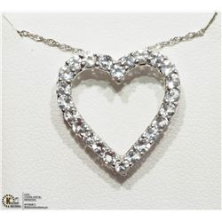 14) STERLING SILVER WHITE TOPAZ NECKLACE