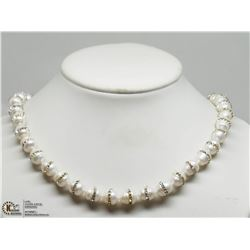 17) STERLING SILVER FRESHWATER PEARL CZ NECKLACE