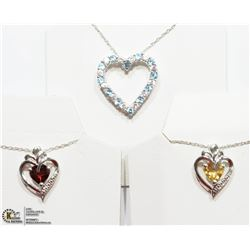 19) 3 STERLING SILVER GEMSTONE NECKLACES