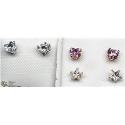20) 2 PAIRS OF 10KT WHITE GOLD CZ EARRINGS & PAIR