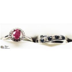 21) 2 STERLING SILVER RUBY AND SAPPHIRE RINGS