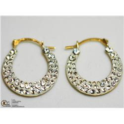 23) 10KT SWAROVSKI CRESCENT EARRINGS