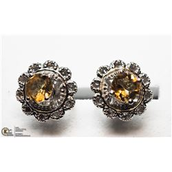 26) STERLING SILVER JACKET CITRINE STUD EARRINGS