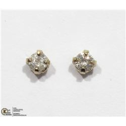 28) 14K WHITE GOLD DIAMOND STUD EARRINGS