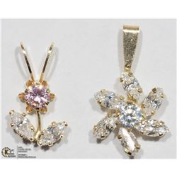 29) TWO 10K YELLOW GOLD CUBIC ZIRCONIA PENDANTS