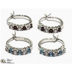 30) 2 STERLING SILVER GARNET AND TOPAZ EARRINGS