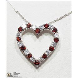 32) STERLING SILVER GARNET HEART SHAPED NECKLACE