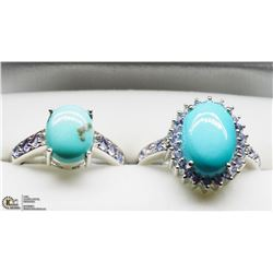 34) 2 STERLING SILVER TURQUOISE TANZANITE RINGS