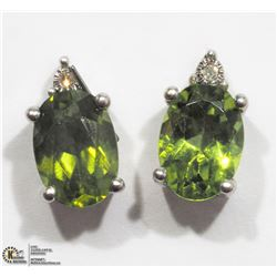 38) STERLING SILVER PERIDOT & DIAMOND EARRINGS