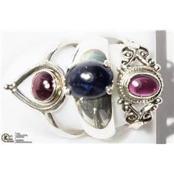 40) STERLING SILVER ASSORTED GEMSTONES RINGS