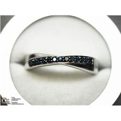 44) STERLING SILVER RHODIUM PLATED 13 DIAMOND RING
