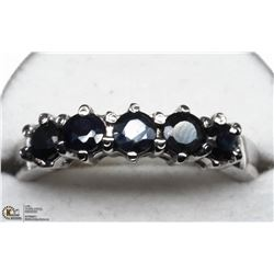 48) SILVER SAPPHIRE 5 STONE RING