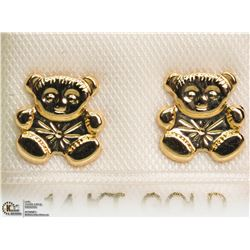 49) 14KT YELLOW GOLD TEDDY BEAR STUD EARRINGS