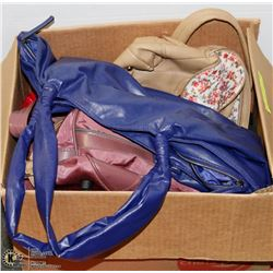 BOX WITH ASSORTED PURSES, BAGS . PURSES AND MORE