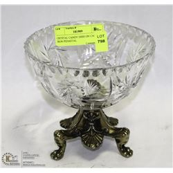 CRYSTAL CANDY DISH ON CAST IRON PEDESTAL