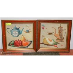 "A PAIR OF 17"" X 17"" DECORATIVE PICS IN WOOD FRAME"