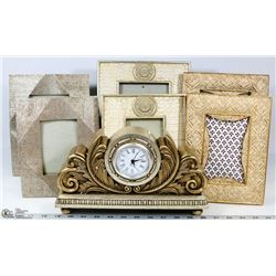 FLAT OF 6 SHOWHOME PICTURE FRAMES AND MANTLE CLOCK
