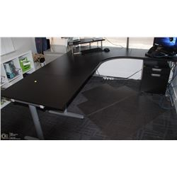 3 SECTION BLACK & GREY DESK WITH DESKTOP SHELF