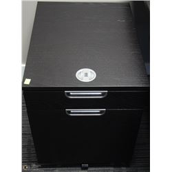 2 DRAWER BLACK & GREY ROLLING CABINET 18X24X22