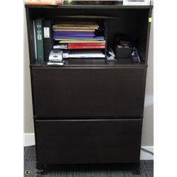 BLACK 2 DRAWER & SHELF CABINET 33X16X53
