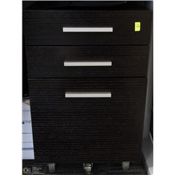 3 DRAWER BLACK ROLLING UNDER DESK CABINET