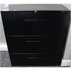 3 DRAWER BLACK LATERAL FILE CABINET, 36X18X41