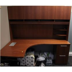 LEFT ANGLE DESK WITH HUTCH & 2 DRAWER FILE CABINET