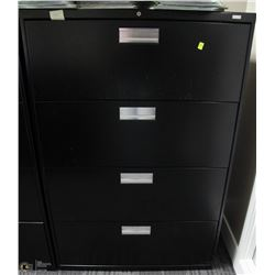 4 DRAWER BLACK LATERAL FILING CABINET 36X19X53