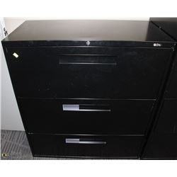 3 DRAWER BLACK LATERAL FILING CABINET 36X18X40