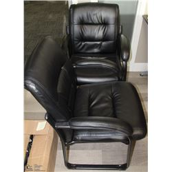 LOT OF 2 LEATHER OFFICE CHAIRS WITH CUSHIONED ARMS
