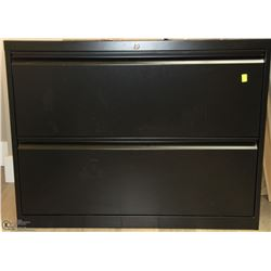 2 DRAWER BLACK LATERAL FILE CABINET 36X20X28