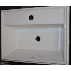 WHITE RECTANGULAR SINK WITH SINGLE FAUCET CUTOUT