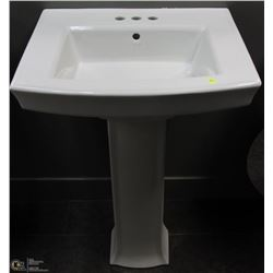 SQUARE WHITE PEDESTAL SINK WITH 3 HOLE FAUCET