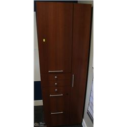 STORAGE CABINET WITH TALL COAT SECTION, 5 DRAWERS,