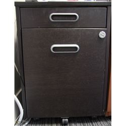 BLACK 2 DRAWER ROLLING CABINET, FITS UNDER DESK
