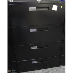 BLACK 4 DRAWER LATERAL FILE CABINET 36X18X54