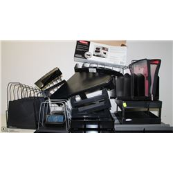 LOT OF ASSORTED OFFICE STORAGE AND FILING ITEMS