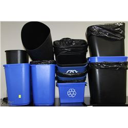 LOT OF 19 GARBAGE & RECYCLE BINS OF VARIOUS SIZES