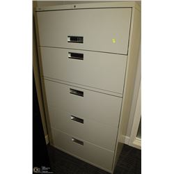 BEIGE 5 DRAWER LATERAL FILE CABINET 36X19X67