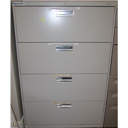 4 DRAWER BEIGE LATERAL FILE CABINET 36X19X53