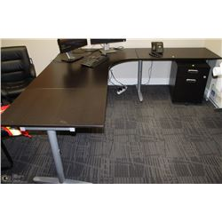BLACK RIGHT ANGLE L-SHAPE DESK 86.5X94.5