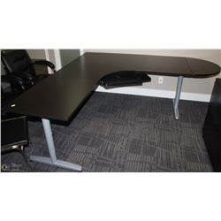 BLACK L-SHAPED DESK WITH REMOVABLE EXTENSION