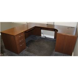 BROWN RIGHT ANGLE SHORT SIDE USHAPE DESK WITH