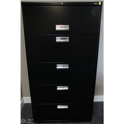 BLACK 5 DRAWER LATERAL FILE CABINET 36X19X67