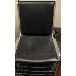 LOT OF 4 BLACK & CHROME STACKING CHAIRS