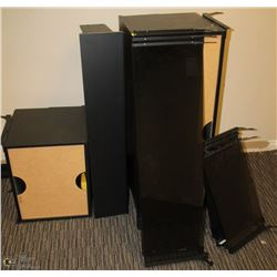 WALL MOUNT SHELVING UNIT DISASSEMBLED, COMES WITH