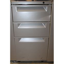 GREY 3 DRAWER ROLLING CABINET 15X19X27.5