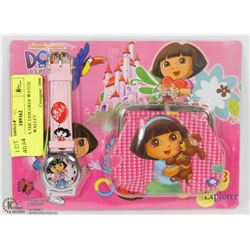 NEW DORA THE EXPLORER WATCH AND COIN WALLET
