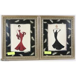 SET OF 2 FRAMED DESIGNER WOMEN PICTURES