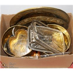 LARGE BOX OF BRASS AND SILVERPLATE ITEMS, ALL ARE